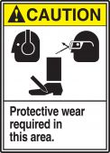- ANSI Caution Safety Sign: Protective Wear Required In This Area.