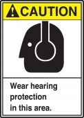 - ANSI Caution Safety Sign: Wear Hearing Protection In This Area.