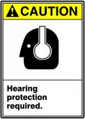 - ANSI Caution Safety Sign: Hearing Protection Required.