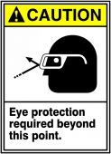 - ANSI Caution Safety Sign: Eye Protection Required Beyond This Point