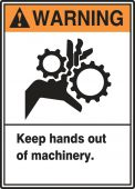 - ANSI Warning Equipment Safety Label: Keep Hands Out Of Machinery