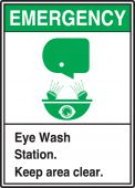 - ANSI Safety Sign: Emergency (Graphic) Eye Wash Station - Keep Area Clear