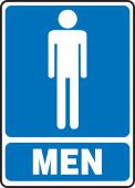 - Safety Sign: (Graphic) Men (Blue Background)