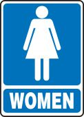- Safety Sign: (Graphic) Women (Blue Background)