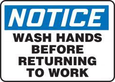 hand wash - OSHA Notice Safety Sign: Wash Hands Before Returning To Work