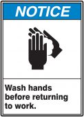 hand wash - ANSI Notice Safety Sign: Wash Hands Before Returning To Work
