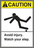 - ANSI Caution Safety Label: Avoid Injury - Watch Your Step