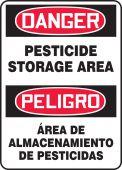 - Bilingual OSHA Danger Safety Sign: Pesticide Storage Area