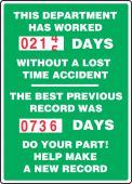 - Turn-A-Day Scoreboards: This Department Has Worked _ Days Without A Lost Time Accident - The Previous Best Record Was _ Days - Do Your Part