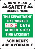 - Turn-A-Day Scoreboards: This Department Has Worked _ Days Without A Lost Time Accident
