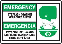- Bilingual Emergency Safety Sign: Eye Wash Station - Keep Area Clear