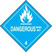 - DOT Shipping Labels: Hazard Class 4: Dangerous When Wet