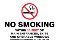 - Smoking Control Sign: No Smoking Within 20 Feet Of Entrances... (California)