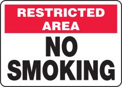 - Smoking Control Sign: Restricted Area - No Smoking