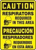 - Bilingual OSHA Caution Safety Sign: Respirators Required In This Area