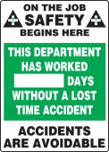 - Write-A-Day Scoreboards: This Department Has Worked _ Days Without A Lost Time Accident