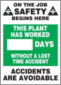 - Write-A-Day Scoreboards: This Plant Has Worked _ Days Without A Lost Time Accident