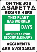 - Write-A-Day Scoreboards: This Plant Has Worked _ Days Without An OSHA Recordable Injury