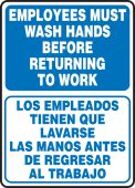 hand wash - Bilingual Safety Sign: Employees Must Wash Hands Before Returning To Work