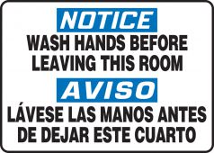 hand wash - Bilingual OSHA Notice Safety Sign: Wash Hands Before Leaving This Room