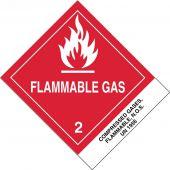 - DOT Shipping Labels: Hazard Class 2: Flammable Gas w/ ID Tab