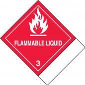- DOT Shipping Labels: Hazard Class 3: Flammable Liquid w/ ID Tab