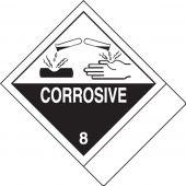 - DOT Shipping Labels: Hazard Class 8: Corrosive w/ ID Tab