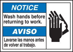 hand wash - Spanish (Mexican) Bilingual ANSI Notice Visual Alert Safety Sign: Wash Hands Before Returning To Work