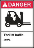 - ANSI Danger Safety Label: Forklift Traffic Area