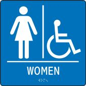 - ADA Braille Tactile Sign: Handicap Accessible Women's Restroom (Square)