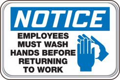 hand wash - OSHA Notice Deco-Shield™ Sign: Employees Must Wash Hands Before Returning To Work