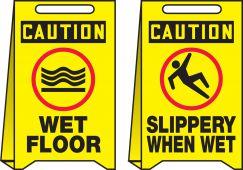 - OSHA Caution Reversible Fold-Ups® Floor Sign: Wet Floor - Slippery When Wet