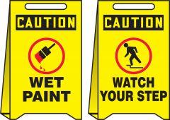 - OSHA Caution Reversible Fold-Ups® Floor Sign: Wet Paint - Watch Your Step