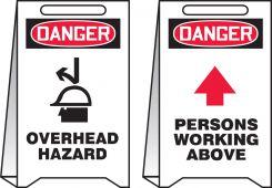 - OSHA Danger Reversible Fold-Ups® Floor Sign: Overhead Hazard - Persons Working Above