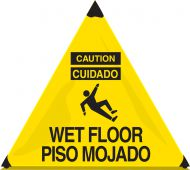 - Bilingual OSHA Caution Handy Cone™ Floor Signs: Wet Floor