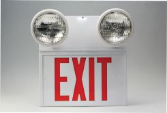 - Combination Emergency Lighted Exit Sign with Round Emergency Lights