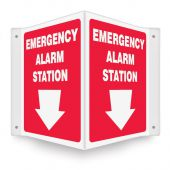 - Projection™ Safety Sign: Emergency Alarm Station (Down Arrow)