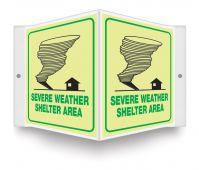 - Glow-In-The-Dark Projection™ Safety Sign: Severe Weather Shelter Area (Graphic)