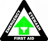 - Slip-Gard™ Triangle Floor Sign: Emergency Eyewash - First Aid