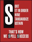 - 5S Motivational Poster: Sort - Set In Order - Shine - Standardize - Sustain - That's How We Spell Success