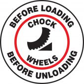 - Pavement Print Sign: Before Loading - Chock Wheels - Before Unloading