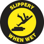 - Pavement-Print Sign: Slippery When Wet