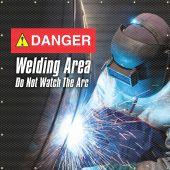 - ONE-WAY™ Printed Welding Screens: Danger - Welding Area - Do Not Watch The Arc