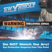 - Custom ONE-WAY™ Printed Welding Screens: Warning Welding Area