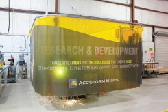 - Custom One-Way™ Printed Welding Partition Screen