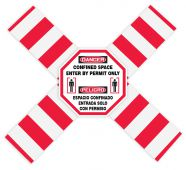 - Bilingual OSHA Danger Flanged Pipe Barrier Kit: Confined Space - Enter By Permit Only