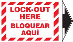 - Bilingual Lockout/Tagout Label: Lockout Here (With Arrow)
