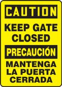 - Bilingual OSHA Caution Safety Sign: Keep Gate Closed