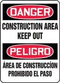 - Bilingual Contractor Preferred OSHA Danger Corrugated Plastic Sign: Construction Area Keep Out