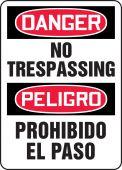 - Bilingual OSHA Danger Safety Sign: No Trespassing